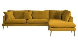 Pamela 3-sits soffa sammet med öppet avslut